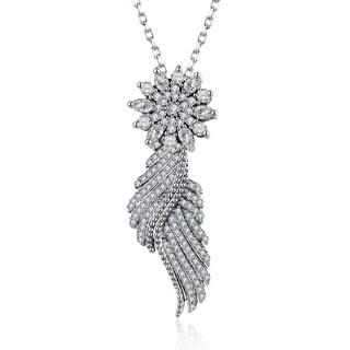 Hakbaho Jewelry .925 Sterling Silver Pav'e Zircon Snowflake Necklace