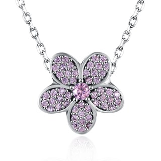 Hakbaho Jewelry .925 Sterling Silver Pink Pav'e Large Floral Necklace