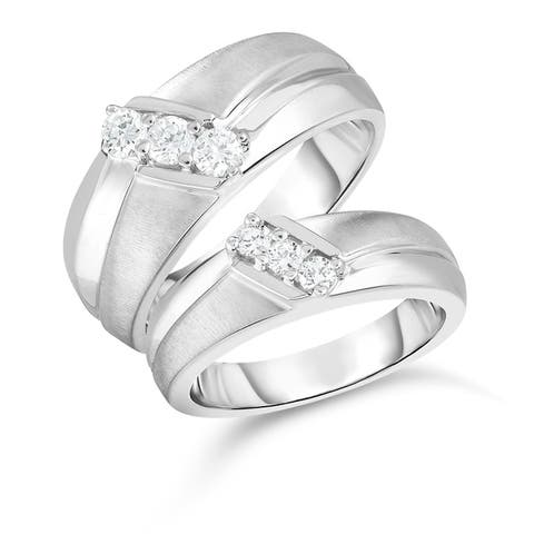 Noray Designs 14K Gold Diamond (0.45 Ct, G-H Color, SI2-I1 Clarity) His & Hers Matching Ring Set - White G-H - White G-H