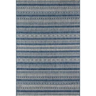 "Novogratz by Momeni Tuscany Indoor/Outdoor Blue/Copper/Grey Runner Rug (2'7 x 7'6) - 2'7"" x 7'6"""