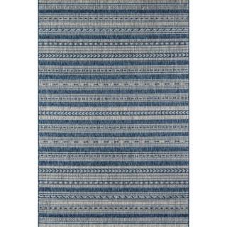 "Novogratz by Momeni Tuscany Blue or Copper Striped Area Rug   - 5'3"" x 7'6"""