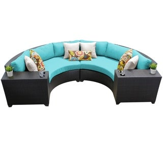 Meridian 4 Piece Outdoor Patio Wicker Sectional with Beverage Ledges
