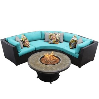Meridian Wicker 4-piece Outdoor Patio Sectional With Fire Pit