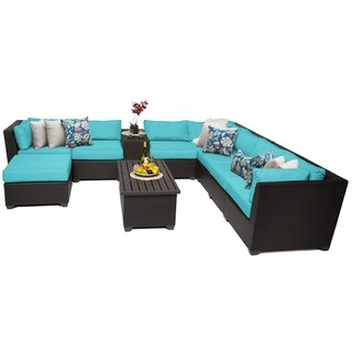 Meridian 10 Piece Outdoor Patio Wicker Sectional Set with Ottoman and Storage Table