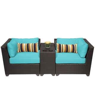 Meridian 3 Piece Outdoor Patio Wicker Lounge Set with Beverage Ledges