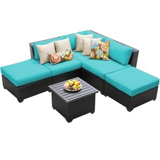 Meridian 6 Piece Outdoor Patio Wicker Lounge Set with Ottomans and End Table
