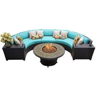 Meridian 6 Piece Outdoor Patio Rounded Wicker Sectional with Beverage Ledges and Fire Pit