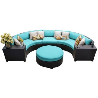 Meridian 6 Piece Outdoor Patio Rounded Wicker Sectional with Coffee Table