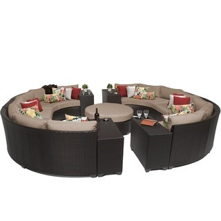 Meridian 11 Piece Outdoor Patio Rounded Wicker Sectional Set