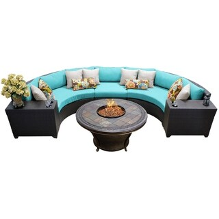 Outdoor Home Meridian Wicker 6-piece Outdoor Rounded Sectional and Fire Pit Set