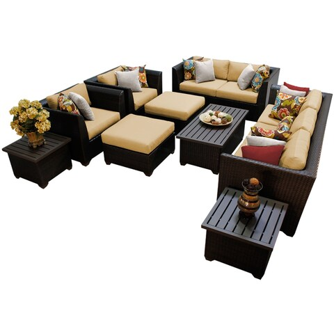 Meridian 12 Piece Outdoor Patio Wicker Lounge Set