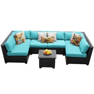 Meridian 7 Piece Outdoor Patio Wicker Sectional with End Table