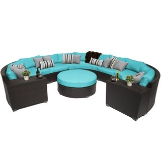 Meridian 8 Piece Outdoor Patio Rounded Wicker Sectional with Beverage Ledges and Coffee Table