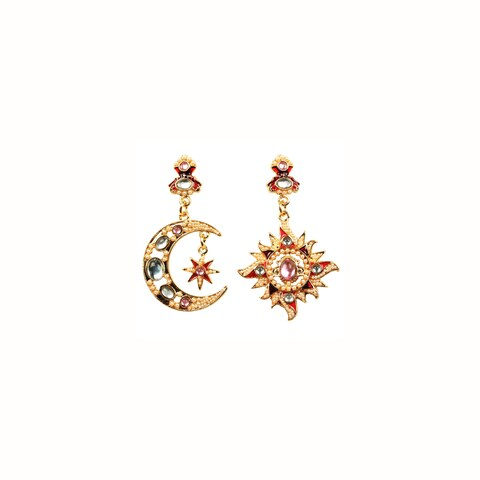 Eye Candy LA 1 inch Sun and Moon Bejeweled Stone Earring