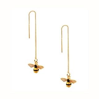 Eye Candy LA 2 inch Honeybee Hanging Chain Earrings