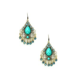 Eye Candy LA 1.5 Teal Centered Intricate Chandelier Earring Style