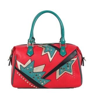 Nicole Lee Red Embellished Assymetrical Design Shoulder Bag