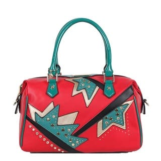 Nicole Lee Red Embellished Assymetrical Design Shoulder Bag