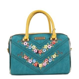 Nicole Lee Blue Suede Flower Embellished Shoulder Bag