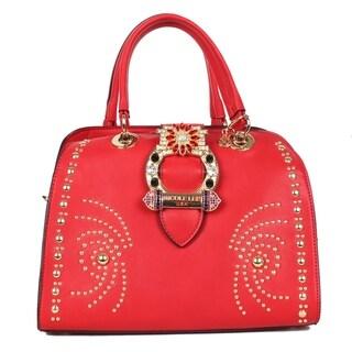 Nicole Lee Red Studded Buckle Belt Embellished Dome Bag