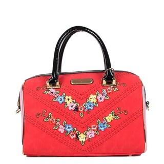 Nicole Lee Red Suede Flower Embellished Shoulder Bag