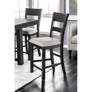"""Furniture of America Denley Rustic Slatted Brushed Black Counter Height Chair (Set of 2) - 19 1/4""""W X 23""""D X 43 1/2""""H"""