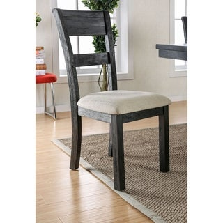 """Furniture of America Denley Rustic Slatted Brushed Black Dining Chair (Set of 2) - 19 1/4""""W X 23""""D X 39 1/4""""H"""