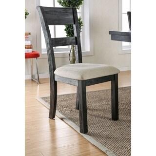 Furniture of America Denley Rustic Slatted Brushed Black Dining Chair (Set of 2)