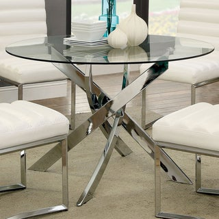Furniture Of America Propele Modern Glass Top Round Chrome Dining Table