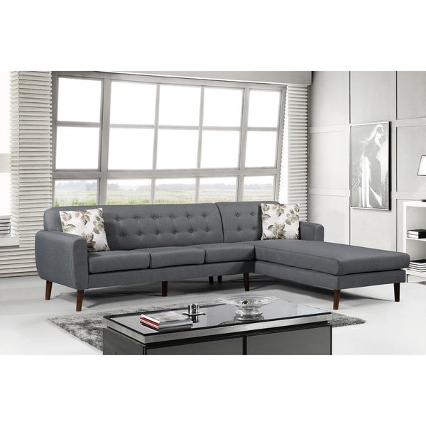 Paula Mid Century Right Facing Tufted Back Sectional Sofa