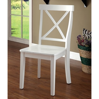 Furniture of America Ten Country White Dining Chairs Set of 2