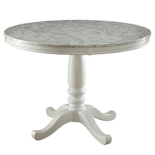 furniture of america laine country style faux marble white round dining table - White Round Dining Table