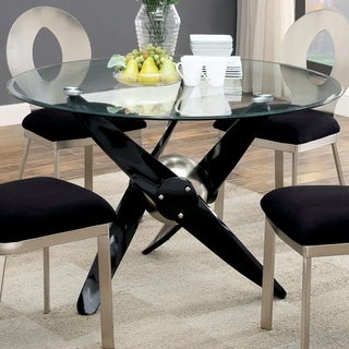 Furniture of America Gene Contemporary Black Round 48-inch Dining Table
