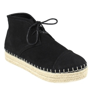 Beston EJ19 Women's Lace Up Espadrille Platform High Top Chukka Bootie Loafers