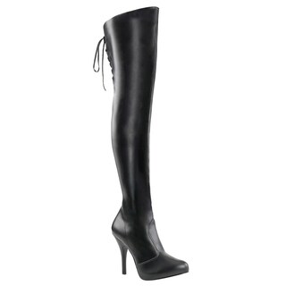 Pleaser Pink Label EVE-312 Women's Platform Thigh High Boot With Lacing