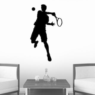 Sports Silhouette Tennis Peel and Stick Wall Decals (12 in H x 7 in W) Wall Vinyl