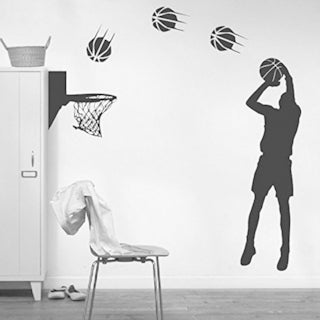 Basketball Players Shot Silhouette with Basketballs and Basketry Wall Vinyl