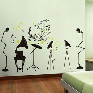 Music Classroom Crazy Rock Musical Instrument Silhouette Sticker Wall Vinyl