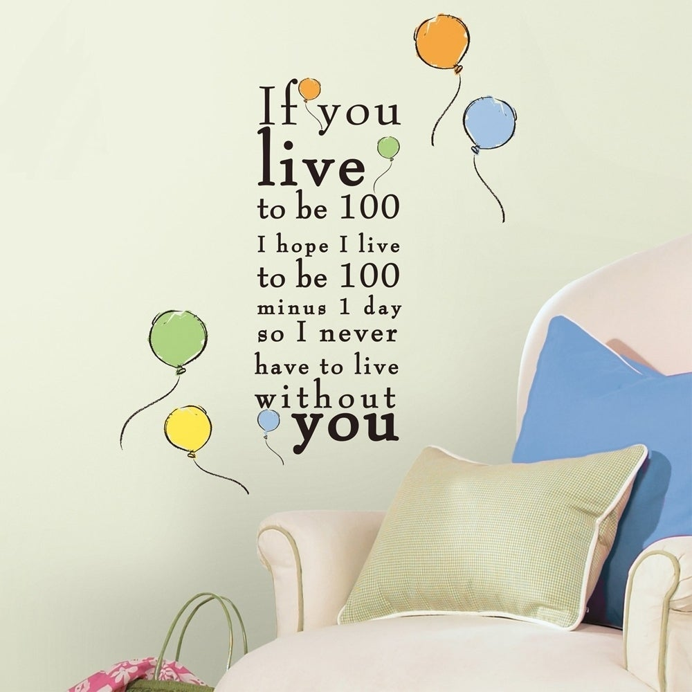 Winnie the Pooh Live to be 100 Peel and Stick Wall Decals...