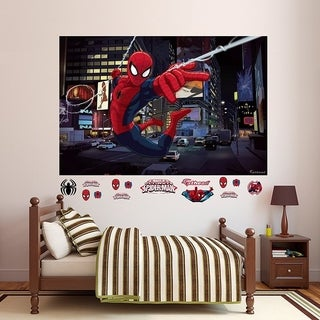 "Fathead Ultimate Spider-Man Mural Real Big Wall Decal 72"" W x 48"" H Wall Vinyl"