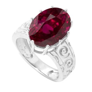 Sterling Sliver Ruby 7.0 CTW Solitaire Ring - Red