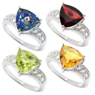 Sterling Silver with Choice of Gemstone Trillion Shaped Ring