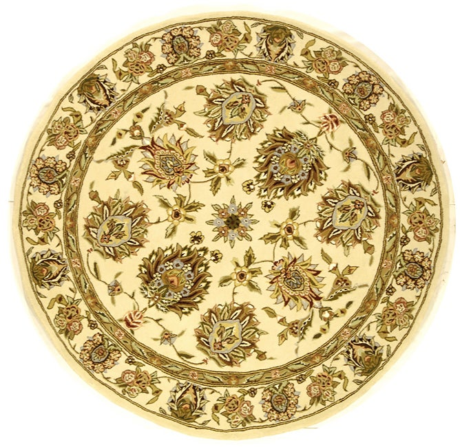 Safavieh Handmade Traditions Tabriz Ivory Wool and Silk Rug (8' Round) - Thumbnail 0