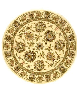 Safavieh Handmade Traditions Tabriz Ivory Wool and Silk Rug (8' Round) - 8' Round - Thumbnail 0