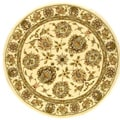 Safavieh Handmade Traditions Tabriz Ivory Wool and Silk Rug (8' Round) - 8' Round