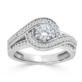 Auriya 14k Gold 1ct TDW Diamond Swirl Halo Engagement Ring (H-I, I1-I2) - White H-I
