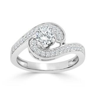 Auriya 14k Gold 3/4ct TDW Diamond Swirl Halo Engagement Ring (H-I, I1-I2) - White H-I