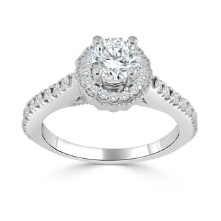 Auriya 14k Gold 3/4ct TDW Diamond Halo Engagement Ring (H-I, I1-I2) - White H-I