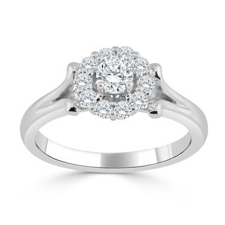 Auriya 14k Gold 1/2ct TDW Diamond Halo Engagement Ring (H-I, I1-I2) - White H-I