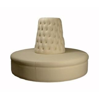 Custom Faux Leather Cream Color Circle Borne Settee Sofa